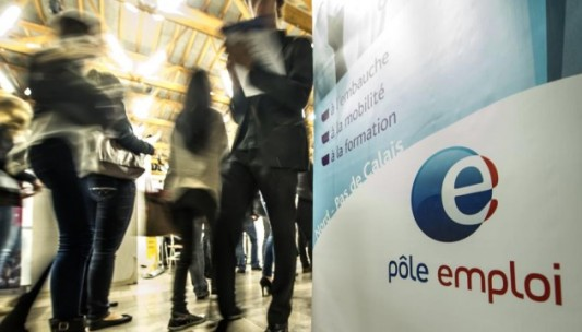 A photo taken on September 30, 2014 in Villeneuve-d'Ascq shows the logo of a French Pole Emploi employment agency during a symposium on employment.  AFP PHOTO PHILIPPE HUGUEN